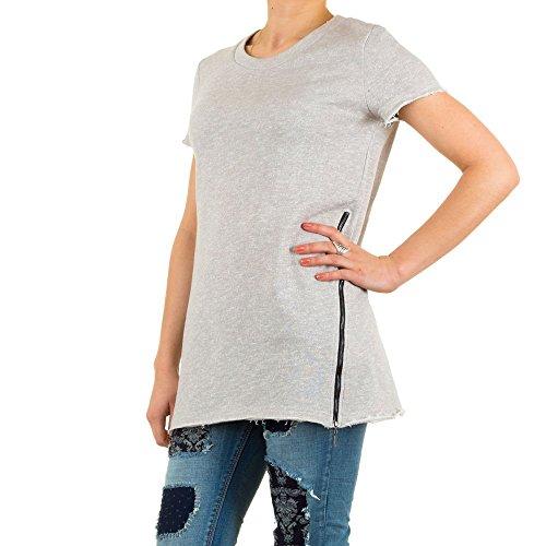 Schuhcity24 Damen Sweatshirt Kurzarm Shirt Zipper Hellgrau S/M (T-shirt Dunklen Womens Tochter)