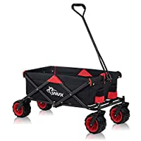 SAMAX Coaster Wagon Garden Trolley Beach Wagon Folding Foldable Hand Cart Trolley Offroad - Black/Red