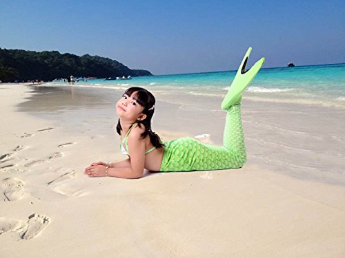 YUNQI Mermaid Tail for Swimming,with Monifin,Princess Bikini Set Swimsuit,Bathingsuit,for Grils