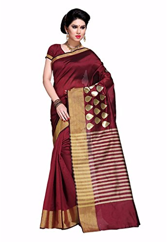 Ishin Poly Silk Maroon Woven zari Border Women's Saree With Blouse.  available at amazon for Rs.499