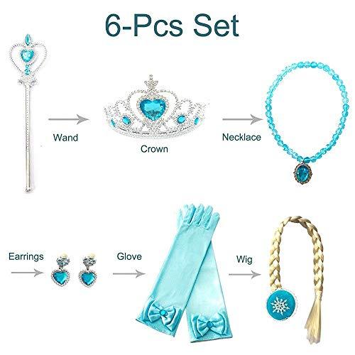 6 stücke Prinzessin Anna Elsa Kleid up Crown Perücke Zauberstab Handschuh für Gefrorene Cosplay Party Set Kinder Mädchen Geburtstag party Favor ()