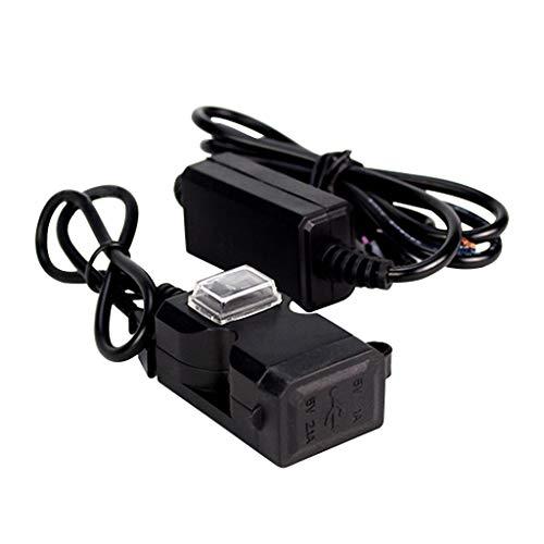 Sixcup®Motorrad-Autoladegerät wasserdichte Motorrad Dual USB Ladegerät 12V Motorrad Lenker Ladebuchse mit Schalter & Halterungen (Schwarz) -