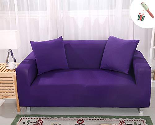 Elastisch Sofa Überwürfe Sofabezug, Morbuy Ecksofa L Form Stretch Antirutsch Armlehnen Einfarbig Sofahusse Sofa Abdeckung Hussen für Sofa Couchbezug Sesselbezug (1 Sitzer,Lila)