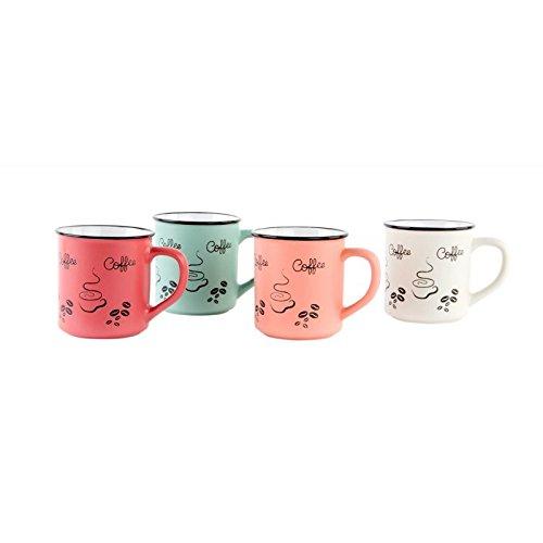 dcasa - Tazas vintage ceramica 4 colores 420 cc / Set de 4 tazas