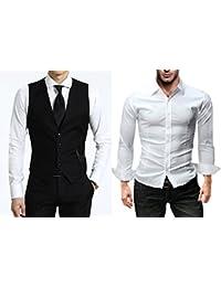 KAYHAN Herren Weste im Set mit einem Hemd oder die Weste einzeln alles Bügelleicht