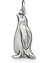 Sterling Silver Polished Open back Antique finish Antiqued Penguin Charm