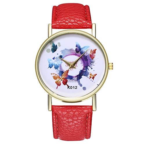 Lazzgirl Frauen-Mode-Schmetterlings-Leder-Band-analoge Quarz-runde Armbanduhr-Uhren(Lila, Weiß, Mintgrün, Blau, Orange, Rosa, Schwarz, Rot, Gelb, Kaffee, Pink, Khaki, Hellblau,One Size)