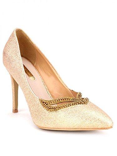 Cendriyon, Escarpin doré paillettes STACY Mode Chaussures Femme Doré