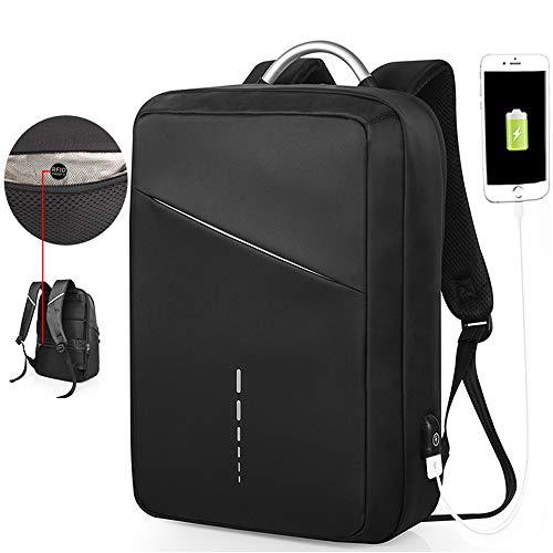 WOTR Laptop-Rucksack mit USB-Ladeanschluss, Anti-Diebstahl Schule Business Rucksack für Männer Frauen, College Schule Rucksack Fit 15in Laptops,Black (Schule Bindemittel Für College)