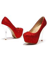 YMFIE Scarpe da banchetto europee da donna a punta bassa bocca stiletto sexy tacchi alti???moda paillettes scarpe singole, 38 EU, C