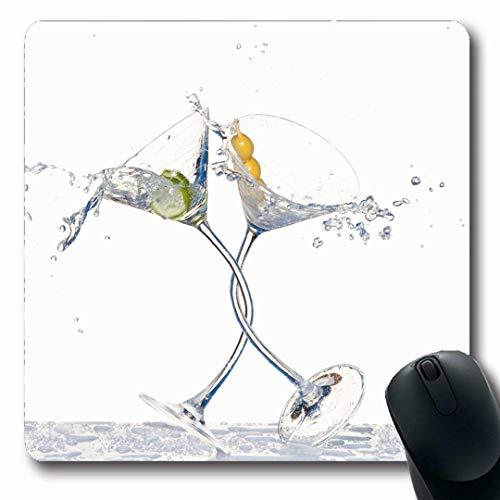 linking Party Paar Tanzen Klirren Gläser Martini Cocktail Gießen Essen Trinken Abstrakt Toast Splash rutschfeste Gaming Mouse Pad Gummi Längliche Matte ()