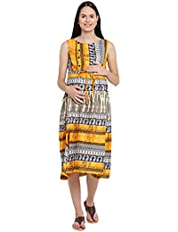Mine4Nine Women's Rayon Maternity Midi Dress (Yellow, MNDR4404)