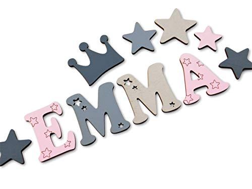 Holzbuchstaben Kinderzimmer-Tür in tollen Farbkombinationen I Inkl. 2 Sternen sowie Klebepads I Perfektes Geburtsgeschenk oder Taufgeschenk I Größe 7cm