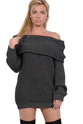 PILOT® cou bardot longue robe pull tricoté gris charbon