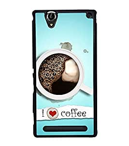 I Love Coffee 2D Hard Polycarbonate Designer Back Case Cover for Sony Xperia T2 Ultra :: Sony Xperia T2 Ultra Dual SIM D5322 :: Sony Xperia T2 Ultra XM50h