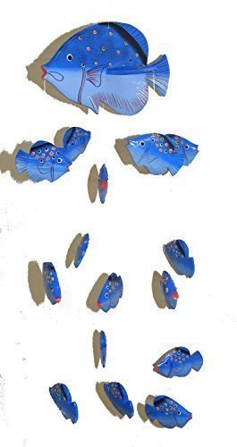 (Blue Kissing Fish Mobile from Bali with 16 Hand Painted Fish - Suitable for Children - Fair Trade)