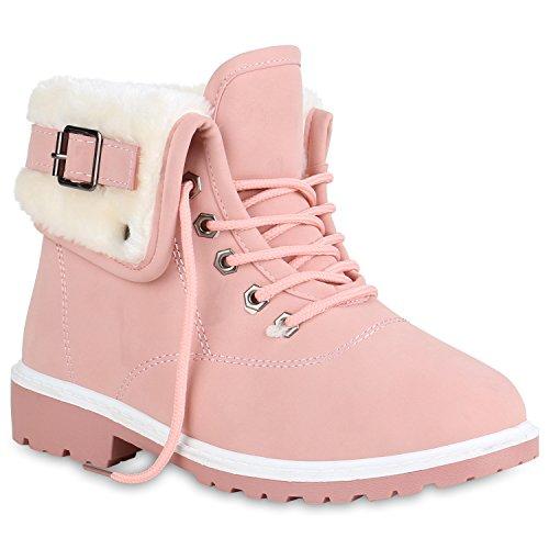 Stiefelparadies Damen Stiefeletten Warm Gefütterte Worker Boots Outdoor Schuhe 152139 Rosa 36 Flandell