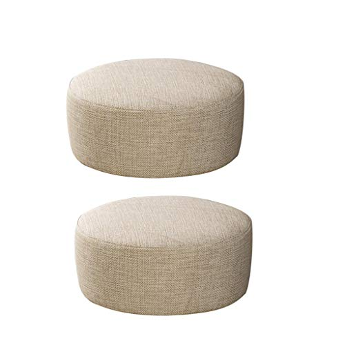 F Fityle 2 Stücke Beige 28x13 cm Runde Form Leinen Fußhocker Abdeckung Mini Stuhl Sofa Schonbezug Für Holzhocker, Hocker Ist Nicht Enthalten. -