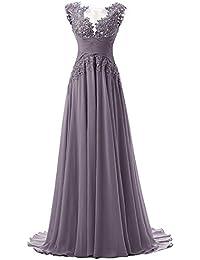 Abendkleider lang mit armel grau