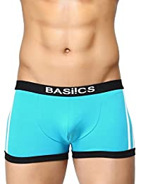 BASIICS by La Intimo Men's Teal Cotton Spandex Body Boost Striped Trunk