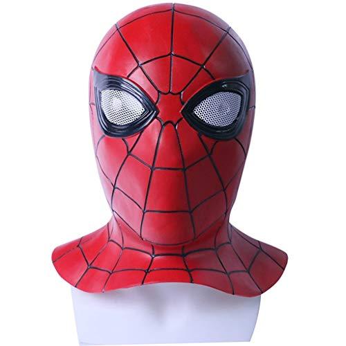 Liabb Spiderman Maske Cosplay Maskerade Helm Halloween Maske Erwachsenen Spider-Man Far from Home Masken Spiderman Hood Helm Comics Held Kopfbedeckung Kostüm,B,Within53CM~60CM