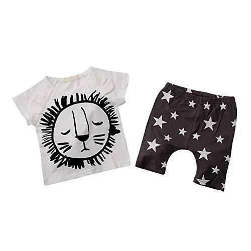 Baby Kleinkind Lion Sommerkleidung Set für Jungen, T-Shirt und Shorts 2 Stück Outfit