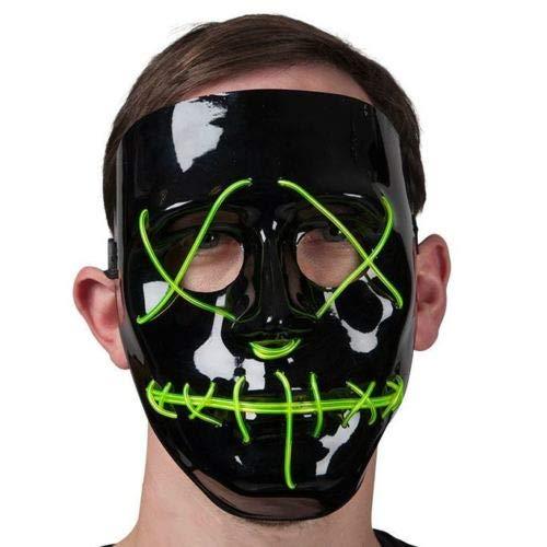 B-Creative Erwachsene grüne Neon Light up Maske Fancy -