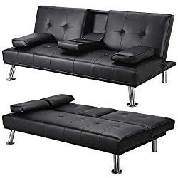 Yaheetech Modern Extra Comfort 3 Seater Faux Leather Sofa Bed with Cup Holder,Black