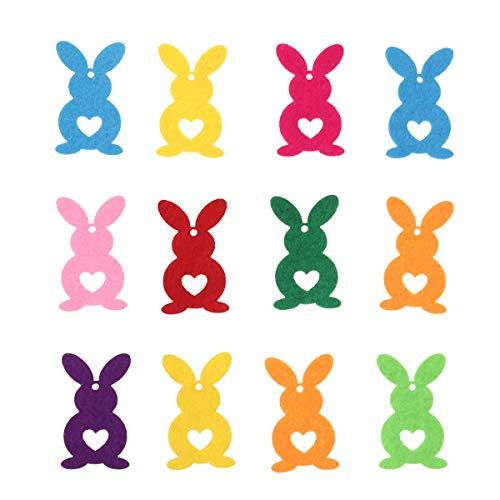 Amosfun - decorazioni a forma di coniglietto pasquale, in tessuto non tessuto, 12 pezzi, colori assortiti