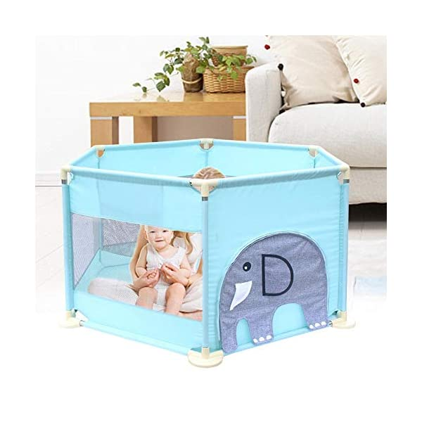 Baby Playpen Activity Centre Children Safety Fence Play Yard Game Playpen Fence for Home Indoor Outdoor Playing Per Material: ABS corner PVC connector Oxford cloth Mesh Size: height 65cm/25.59inch, length 142cm/55.9inch Age: 5 months to 3 years old 11