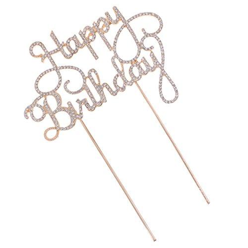 MagiDeal Kristall Kuchendeckel Jahrenstag Geburtstag Kuchen Topper Cake Topper Kuchendekoration Happy Birthday Muster - Gold