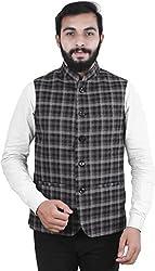 La Rainbow Mens Check twieded Nehru Jacket Waistcoat For Partywear (Black)