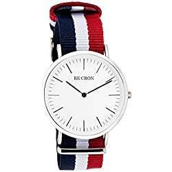 "RE:CRON women watch stainless steel 36 mm 1.42"" with textile wristband nylon maritime dark blue white and red"
