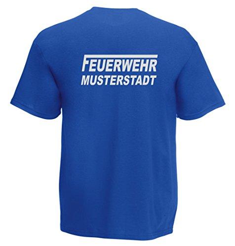 T-Shirt FEUERWEHR beidseitig bedruckt mit Wunschort Royal reflektierend
