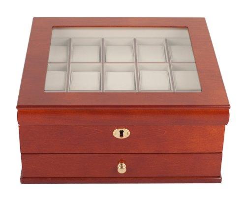 XXL Uhrenbox Luxor Holz Uhrenschatulle Vitrine Uhr