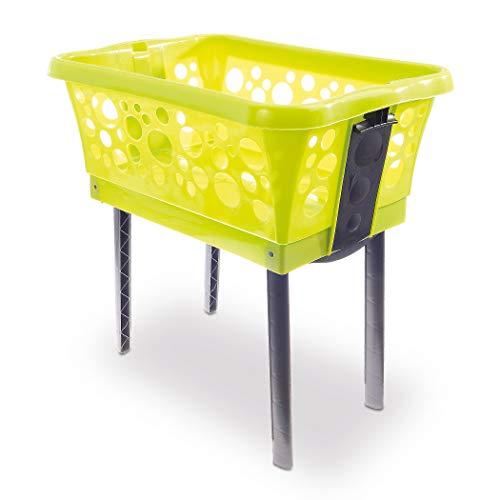 Wäschekorb mit ausklappbaren Beinen grün – Made in Germany – Wäschekorb Kunststoff mit großem Volumen – Wäschewanne auf Beinen für rückenschonendes Aufhängen der Wäsche ohne Bücken