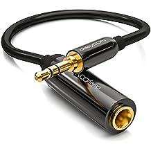 deleyCON 0,2 cavo adattatore audio stereo - connettore maschio 3,5mm per un connettore femmina da 6,3mm – connettori dorati – cavo nero