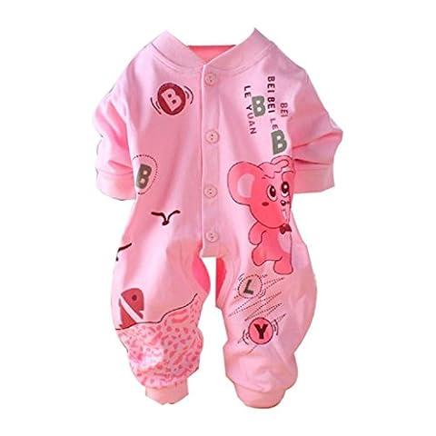 Bluestercool Barboteuse nouveau-née de coton de bébé, équipement infantile de combinaison de salopette d'enfants de fille de garçon (73=(5-7M), Rose)