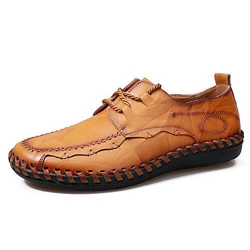 YIJIAN-SHOES Herren Oxford Schuhe Männer Handarbeit Nähen Stitching Loafer Mode Bequeme Echtes Leder Schnüren Antislip Biegsamen Mokassins Bootsschuhe Kleid Oxford Schuhe Plain Toe Slip