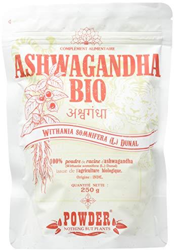 ASHWAGANDHA ECOLÓGICA EN POLVO * 50 raciones / 250 g * Planta adaptógena * Referencia en medicina Ayurveda * Propiedades afrodisiacas, estimulantes y rejuvenecedoras* Fabricado en Francia
