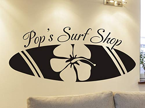 Tiukiu Personalized Beach House Wall Decal Pop's Surf Shop with Surfboard Living Room Or Family Room Wall Decoration Large Size -