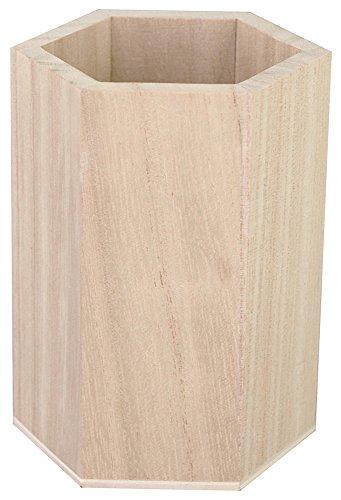 Kreul 45156 - Stiftehalter Waben aus Holz 100% FSC, 8 x 8 x 10.5 cm