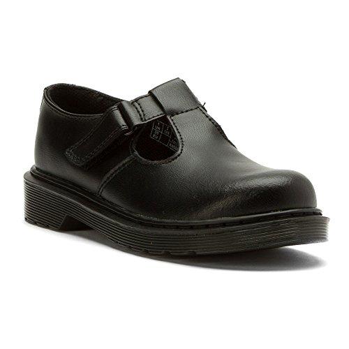 Dr Martens Filles Noir Goldie T Bar Chaussures Noir