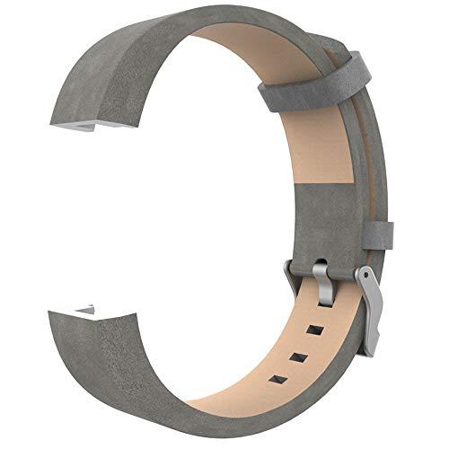 WAOTIER für Fitbit Charge2 Armband Leder Armband mit Edelstahl Verschluss Weicher Glättender Leder Ersatzband für Fitbit Charge 2 Armband Business Casual Retro Armband für Männer und Frauen (Grau)