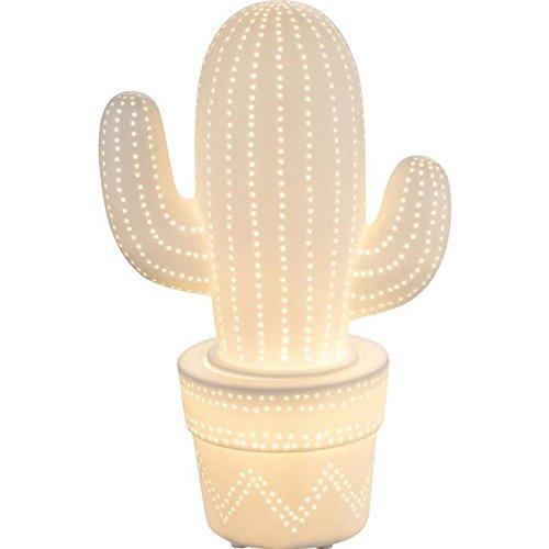 Porzellan-lampe Akzent (Porzellan Tischleuchte Globo 22804 Chaita Kaktus Weiß Ambiente Beleuchtung Akzent Lampe Stimmungslicht Schnurzwischenschalter E14)