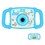 DROGRACE Kids Camera 1080P HD Kids Digital Video Camera with Built-in Microphone, Speaker, 4X Zoom, Flash Lights and 2 inch LCD Screen for Boys Girls Birthday - Blue