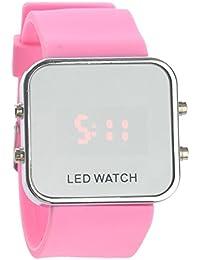 UEETEK Reloj de pulsera Fashion Square espejo cara Unisex LED Digital rojo con banda de silicona
