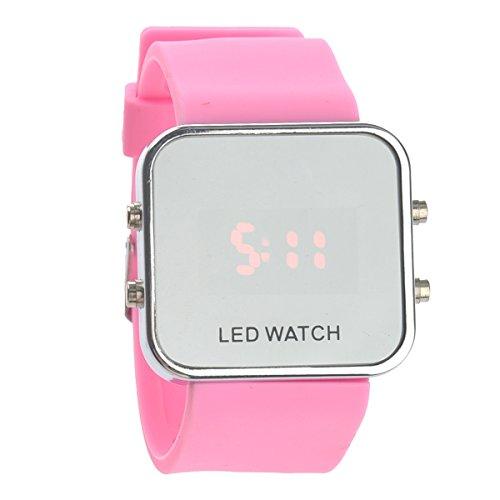 UEETEK Reloj de pulsera Fashion Square espejo cara Unisex LED Digital rojo con banda de silicona fecha (rosa)