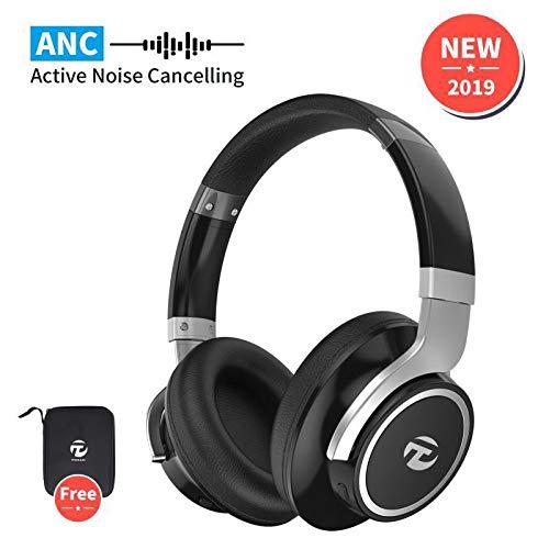 Casque Bluetooth Reduction de Bruit Active,Casque Bluetooth sans Fil de Bruit Active avec 40 Heures de Jeu,Stéréo Confortable et Son Haute Fidélité pour Téléphone/Tablettes/PC/iPad Mornpi(Noir)