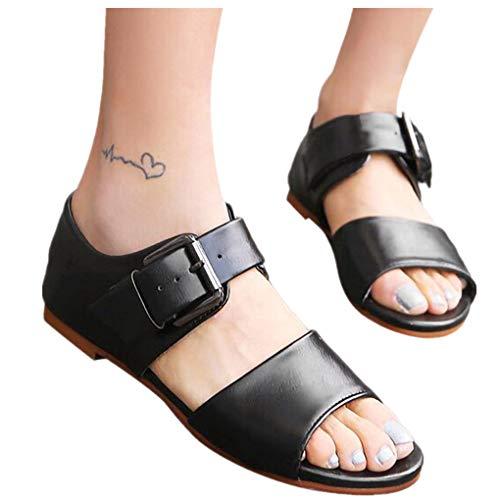 Übergroßer Sandalen für Damen/Dorical Frauen Roman Sommer Retro Peep-Toe Sandalen mit Schnalle Flach Damenschuhe Mode einfache PU-Leder Schuhe Rutschfest 35-43 EU Ausverkauf(Schwarz,36 EU)